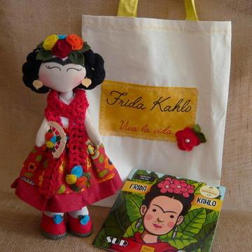Boneca Frida Kahlo - kit boneca livro e sacola