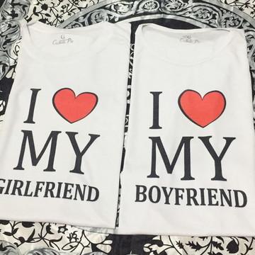 02 Camisetas - Namorados - I Love My Girl/Boyfriend