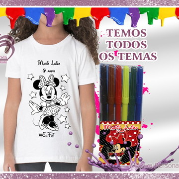 Camiseta para colorir TODOS OS TEMAS