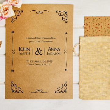 Convite Casamento Rústico- Arte Digital