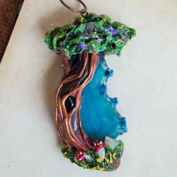 Colar Árvore Ágata Azul