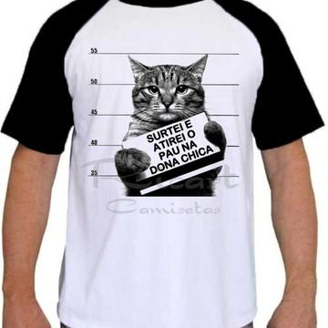 5e8967da4fa86 Camiseta Raglan Animais Engraçada Sátira Gato Surtado