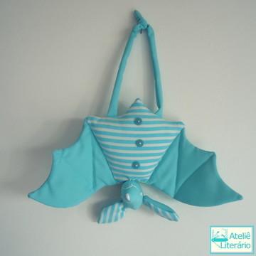 Boneco Morcego azul claro em tecido
