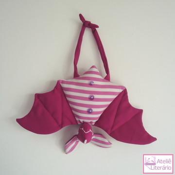 Boneco Morcego rosa em tecido