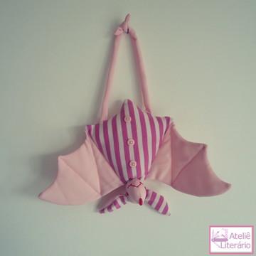 Boneco Morcego rosa claro em tecido