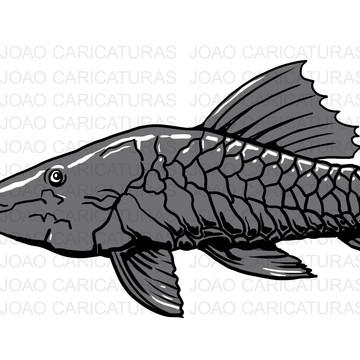 Desenho peixe cascudo preto