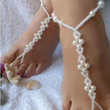 Sandália descalça pérolas