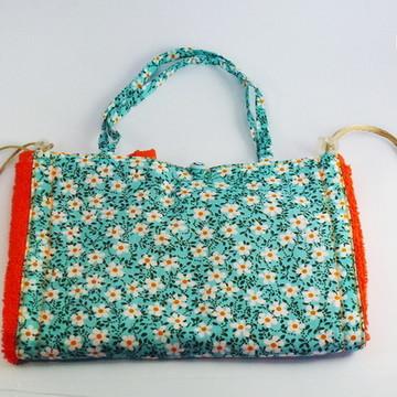 Nécessaire toalha Floral Azul Claro
