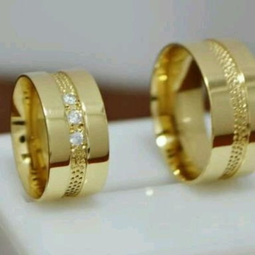 Par de aliança 10mm Prata Banhada a Ouro