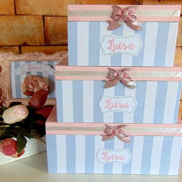 Trio de Caixas com Tecido Personalizada - Cinza com Rosa