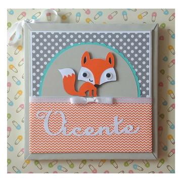 Diário Livro Bebê personalizado raposinha laranja scrapbook