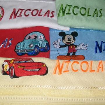 Kit toalha bordada escolar - 5 toalhas - Meninos