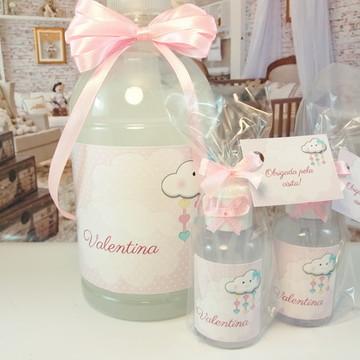 Kit álcool gel chuva de amor rosa