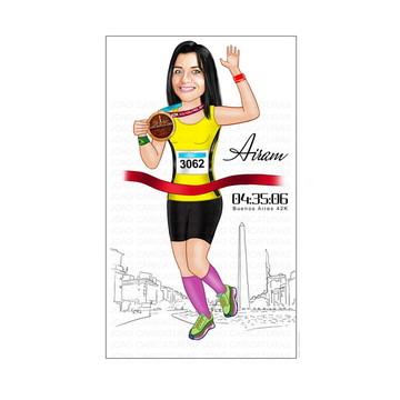 Caricatura medalhista competidora Maratona Argentina