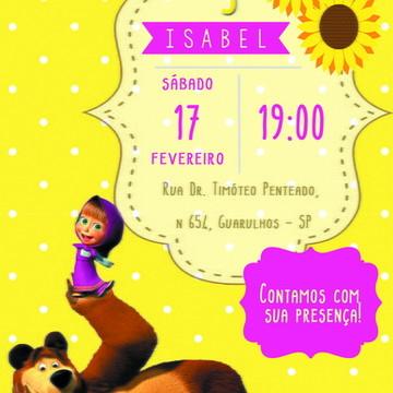 Convite Digital Personalizado - Masha eo Urso
