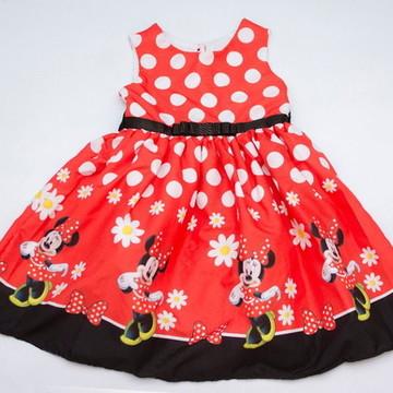 Vestido de Festa Minnie Vermelho Tam 1 ao 10