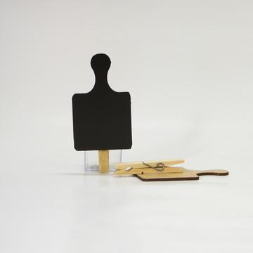 mini lousa tábua com prendedor - kit com 2 unidades