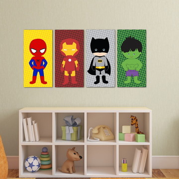 4 Quadros Heróis Baby