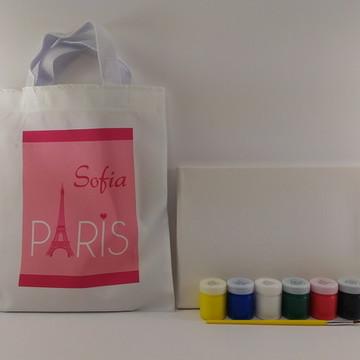 Kit pintura com guache lembrança aniversario paris