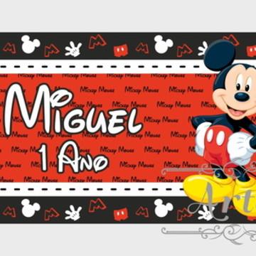 Adesivo Rótulo para Cofrinho Lembrancinha Mickey