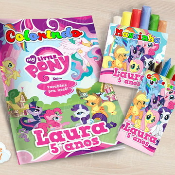 Kit colorir giz massinha My Little Pony