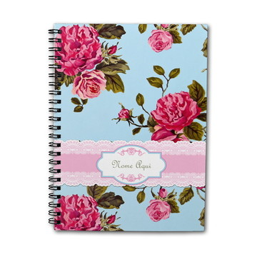 Caderno Personalizado 100fls Floral Rosas Turquesa