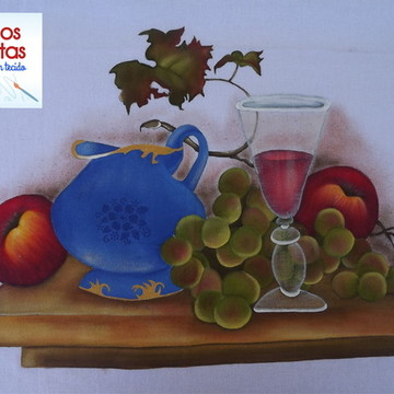Pano de prato - Vinho e frutas - P09