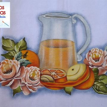 Pano de prato - Flores e frutas - P10