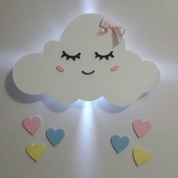 Decoração Nuvem Led Mdf Pintado Quarto Bebê