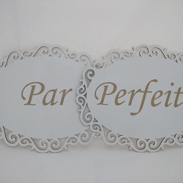 Plaquinhas para Casamento Par - Perfeito