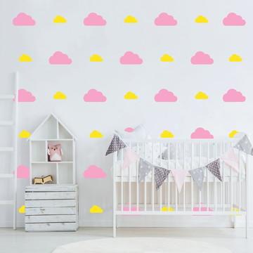 Adesivo nuvens rosa e amarelo