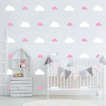 Adesivo nuvens rosas e branco