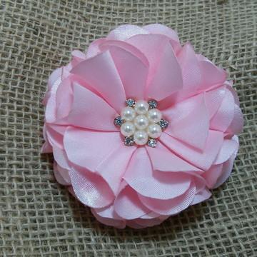 Flor para cabelo amor rosa