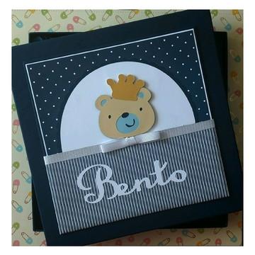 Livro do bebê menino com caixa ursinho príncipe