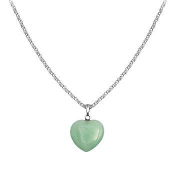 Colar - Coração Pedra Natural com corrente
