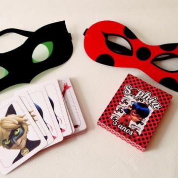 Jogo da memória + Máscara Scrap Lady Bug/Cat Noir