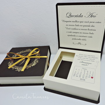 Caixa Convite Padrinhos-/Jessica