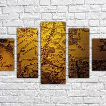 Quadro Decorativo Mapa Senhor Dos Anéis Com 5 peças 0001