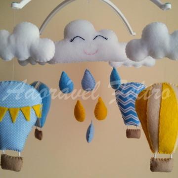 Móbile Musical Balões e Nuvens+Suporte Cauã