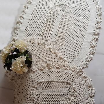 Conjunto de 3 Tapetes de crochê Russo Barroco