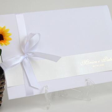 Convite Puck - Branco e Dourado