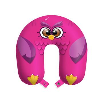 Travesseiro de pescoço almofada viagens Coruja rosa