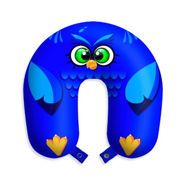 Travesseiro de pescoço almofada viagens Coruja Azul