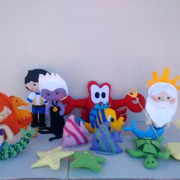 Personagens Ariel em feltro - 11 Personagens