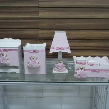 Kit higiêne bebê com tecido e ursinhos