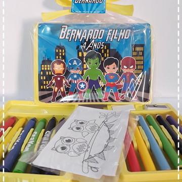 Estojo de colorir super heróis