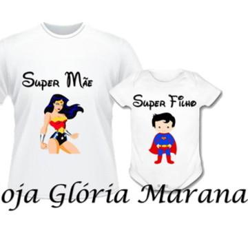 CAMISETA MULHER MARAVILHA SUPER MAE E SUPER FILHOC/2
