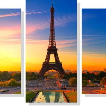 Quadros Decorativos Torre Eiffel para Sala 5 peças