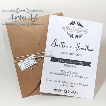 Convite de Casamento Rústico c/ Envelope