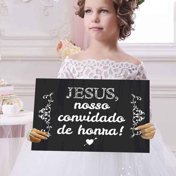 Plaquinhas para casamento -Jesus nosso convidado